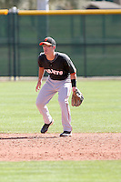 Nick Liles #10 of the San Francisco Giants plays in a minor league spring training game against the Arizona Diamondbacks at the Giants minor league complex on March 16, 2011  in Scottsdale, Arizona. .Photo by:  Bill Mitchell/Four Seam Images.