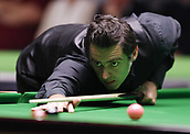 30th November 2017, York, England;  Ronnie O'Sullivan of England competes during the first round match with Jackson Page of Wales at 2017 UK Snooker Championship in York, on Nov. 30, 2017. Ronnie O'Sullivan won 6-3.