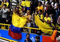 BOGOTÁ-COLOMBIA, 08-01-2020: Hinchas de Colombia, animan a su equipo antes de partido entre Perú y Colombia en el Preolímpico Suramericano de Voleibol, clasificatorio a los Juegos Olímpicos Tokio 2020, jugado en el Coliseo del Salitre en la ciudad de Bogotá del 7 al 9 de enero de 2020. / Fans from Colombia, cheer for their team prior a match between Peru and Colombia, in the South American Volleyball Pre-Olympic Championship, qualifier for the Tokyo 2020 Olympic Games, played in the Colosseum El Salitre in Bogota city, from January 7 to 9, 2020. Photo: VizzorImage / Luis Ramírez / Staff.