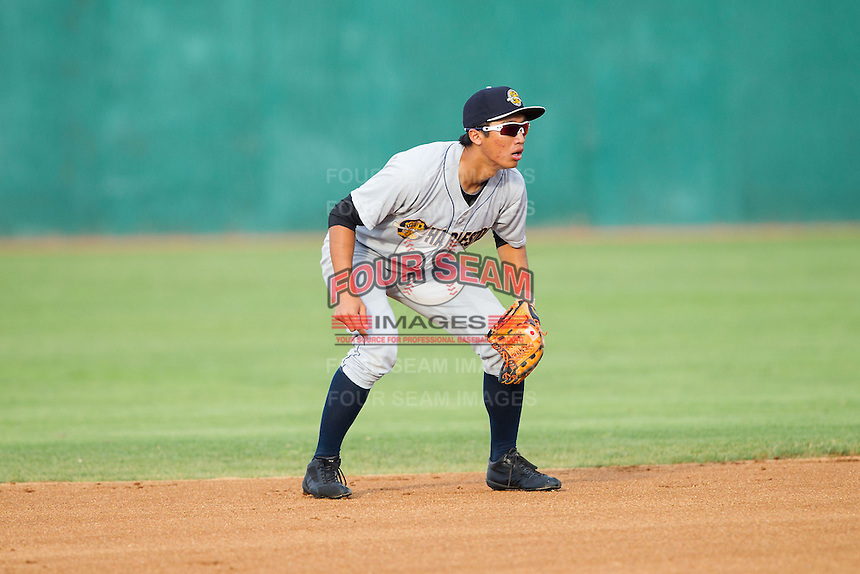 Charleston RiverDogs second baseman Gosuke Katoh (4) on defense against the Hickory Crawdads at L.P. Frans Stadium on June 2, 2014 in Hickory, North Carolina.  The Crawdads defeated the RiverDogs 9-6.  (Brian Westerholt/Four Seam Images)
