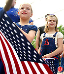 WATERTOWN, CT. 29 May 2006-052906SV08--From left, Tabitha-Lee Marquis, 8, and Alexis LeClerc, 8, both of Watertown enjoy the annual Memorial Day parade in Watertown Monday.<br /> Steven Valenti Republican-American
