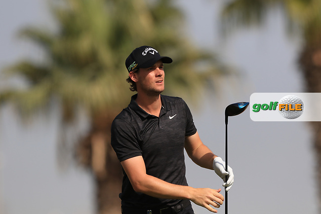 Thomas Pieters (BEL) on the 3rd during Round 4 of the Omega Dubai Desert Classic, Emirates Golf Club, Dubai,  United Arab Emirates. 27/01/2019<br /> Picture: Golffile | Thos Caffrey<br /> <br /> <br /> All photo usage must carry mandatory copyright credit (&copy; Golffile | Thos Caffrey)