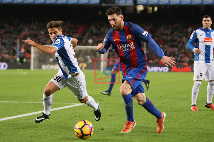 League Santander 2016/2017. Game: 16.<br /> FC Barcelona vs RCD Espanyol: 4-1.<br /> Oscar Melendo vs Lionel Messi.