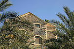 Israel, Sea of Galilee. Old stone house in Kinneret