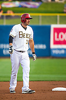 Matt Joyce (30) of the Salt Lake Bees takes his lead at second base during the game against the Iowa Cubs in Pacific Coast League action at Smith's Ballpark on August 20, 2015 in Salt Lake City, Utah. The Cubs defeated the Bees 13-2.  (Stephen Smith/Four Seam Images)