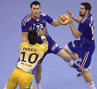 15.01.2013 Granollers, Spain. IHF men's world championship, prelimanary round. Picture show Sébastien Bosquet   in action during game between France v Brazil at Palau d'esports de Granollers