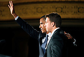United States President Barack stands with Democratic U.S. Senate Candidate Alexi Giannoulias at a fund raiser at the Palmer House in Chicago, Thursday, August 5, 2010. .Credit: Jeff Haynes - Pool via CNP