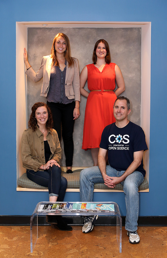 From left, project coordinators Johanna Cohoon and Mallory Kidwell, statistical consultant Courtney Soderberg and executive director Brian Nosek make up the team who administered the Responsibility Project at the Center for Open Science located in Charlottesville, Va.  Photo/Andrew Shurtleff