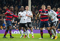 Fulham's Sheyi Ojo and  Aleksandar Mitrovicduring the Sky Bet Championship match between Fulham and Queens Park Rangers at Craven Cottage, London, England on 17 March 2018. Photo by Andrew Aleksiejczuk / PRiME Media Images.