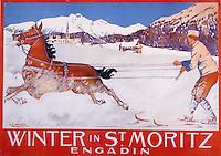 Europe/Suisse/Engadine/St-Moritz: Vieille affiche de la station de sports d'hiver - Skijoring
