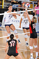 16 October 2010:  FIU middle blocker Andrea Lakovic (1) hits a kill shot in the third set as the Western Kentucky Hilltoppers defeated the FIU Golden Panthers, 3-2 (25-19, 23-25, 25-20, 25-27, 15-13), at the U.S Century Bank Arena in Miami, Florida.