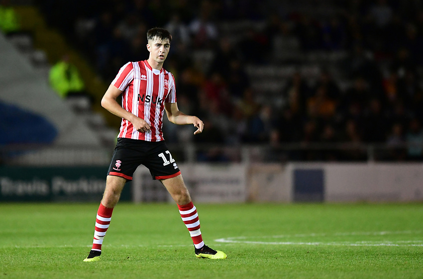 Lincoln City's Ellis Chapman<br /> <br /> Photographer Chris Vaughan/CameraSport<br /> <br /> The EFL Checkatrade Trophy Group H - Lincoln City v Mansfield Town - Tuesday September 4th 2018 - Sincil Bank - Lincoln<br />  <br /> World Copyright © 2018 CameraSport. All rights reserved. 43 Linden Ave. Countesthorpe. Leicester. England. LE8 5PG - Tel: +44 (0) 116 277 4147 - admin@camerasport.com - www.camerasport.com