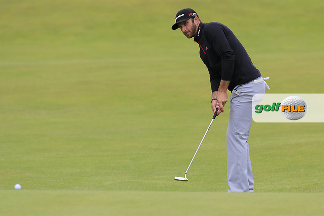 Dustin JOHNSON (USA) putts onto the 18th green during Sunday's Round 3 of the 144th Open Championship, St Andrews Old Course, St Andrews, Fife, Scotland. 19/07/2015.<br /> Picture Eoin Clarke, www.golffile.ie