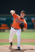 Baltimore Orioles pitcher Michael Baumann (80) delivers a pitch during an Instructional League game against the Tampa Bay Rays on October 2, 2017 at Ed Smith Stadium in Sarasota, Florida.  (Mike Janes/Four Seam Images)