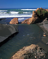 Rocks and waves at Trinidad State Beach. California.