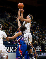 Layshia Clarendon of California shoots the ball during the game against Kansas at Haas Pavilion in Berkeley, California on December 21st, 2012.  California defeated Kansas, 88-79.