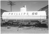 Diagram and BW photo of UTLX Union Tank Car Co.  Car is stencilled &quot;Phillips 66&quot;, painted white and is very clean.<br /> D&amp;RGW