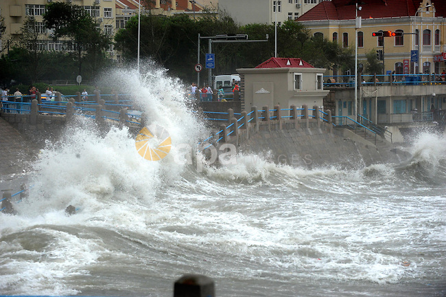 Aug. 3, 2012 - Qingdao, Shandong, China - Waves beat the shore as Typhoon Saola approaches the east China coast. Shandong Provincial Meteorological Station has issued the red alert for the typhoon, the highest warning level in China's four-tier weather warning system. (Credit Image: © Li Ziheng/Xinhua/ZUMAPRESS.com)