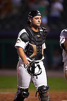 Tri-City ValleyCats catcher Anthony Hermelyn (7) walks to the dugout after a game against the Brooklyn Cyclones on September 1, 2015 at Joseph L. Bruno Stadium in Troy, New York.  Tri-City defeated Brooklyn 5-4.  (Mike Janes/Four Seam Images)