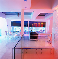 At night the penthouse is transformed by multicoloured lights