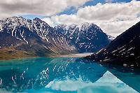 Aerial view of lake and mountains, Alaska