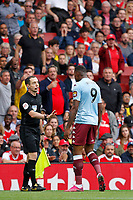 Wesley of Aston Villa protests his innocence during the Premier League match between Arsenal and Aston Villa at the Emirates Stadium, London, England on 22 September 2019. Photo by Carlton Myrie / PRiME Media Images.
