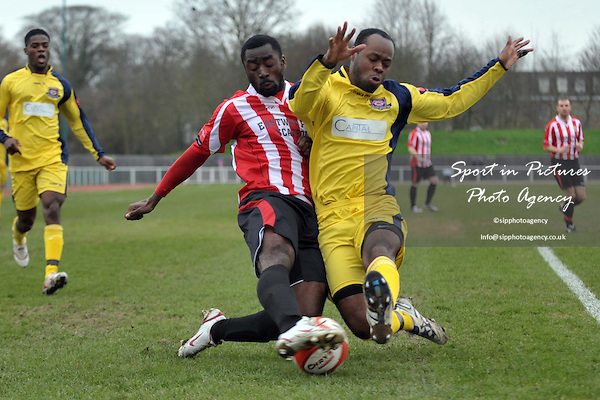 Tambeson Eyong (Hornchurch, left) and Jeremy Williams (Croydon). AFC Hornchurch Vs Croydon Athletic. Ryman Premier League. The Stadium. Essex. 05/03/2011. MANDATORY CREDIT Sportinpictures/Garry Bowden