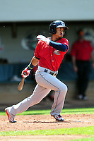 Columbus Clippers shortstop Francisco Lindor (12) during a game versus the Pawtucket Red Sox at McCoy Stadium in Pawtucket, Rhode Island on May 17,2015.  (Ken Babbitt/Four Seam Images)