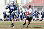 Beverly Hills, CA 04/12/10 - Luke Mullan (Loyola # 9) and Marc Hurwitz (Beverly Hills # 32) in action during the Loyola-Beverly Hills Boys Varsity Lacrosse game at Beverly Hills High School, Loyola defeated Beverly Hills 16-0.