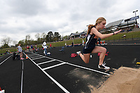 NWA Democrat-Gazette/J.T. WAMPLER Heritage freshman Austyn Cravey  ((CQ)) competes in the triple jump Thursday April 26, 2018 at the 7A-West Conference track meet at War Eagle Stadium at Rogers Heritage High School.