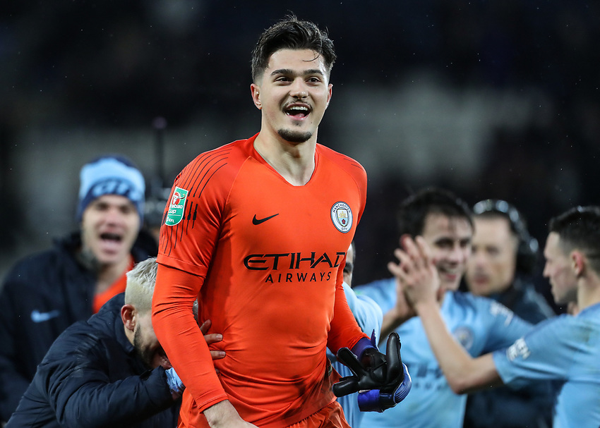 Manchester City's Arijanet Muric celebrates victory<br /> <br /> Photographer Andrew Kearns/CameraSport<br /> <br /> English League Cup - Carabao Cup Quarter Final - Leicester City v Manchester City - Tuesday 18th December 2018 - King Power Stadium - Leicester<br />  <br /> World Copyright © 2018 CameraSport. All rights reserved. 43 Linden Ave. Countesthorpe. Leicester. England. LE8 5PG - Tel: +44 (0) 116 277 4147 - admin@camerasport.com - www.camerasport.com