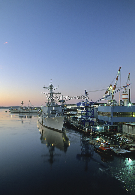 Navy ships nearing completion at Bath Iron Works in Bath, Maine, USA