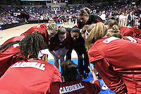 29 March 2008: Jillian Harmon, Rosalyn Gold-Onwude, Jayne Appel, Jeanette Pohlen, Melanie Murphy, Michelle Harrison and the team huddle during warmups during Stanford's 72-53 win over Pitt in the sweet sixteen game of the NCAA Division 1 Women's Basketball Championship in Spokane, WA.