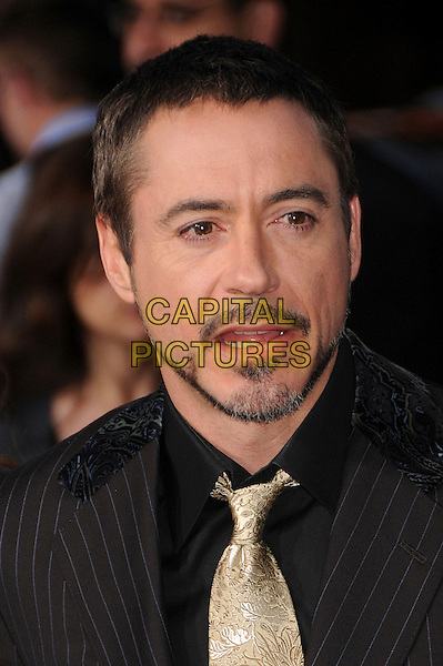 "ROBERT DOWNEY JR. .""Iron Man"" Los Angeles Premiere at Grauman's Chinese Theatre, Hollywood, California, USA,.30 April 2008..portrait headshot beard facial hair gold tie black shirt .CAP/ADM/BP.©Byron Purvis/Admedia/Capital PIctures"