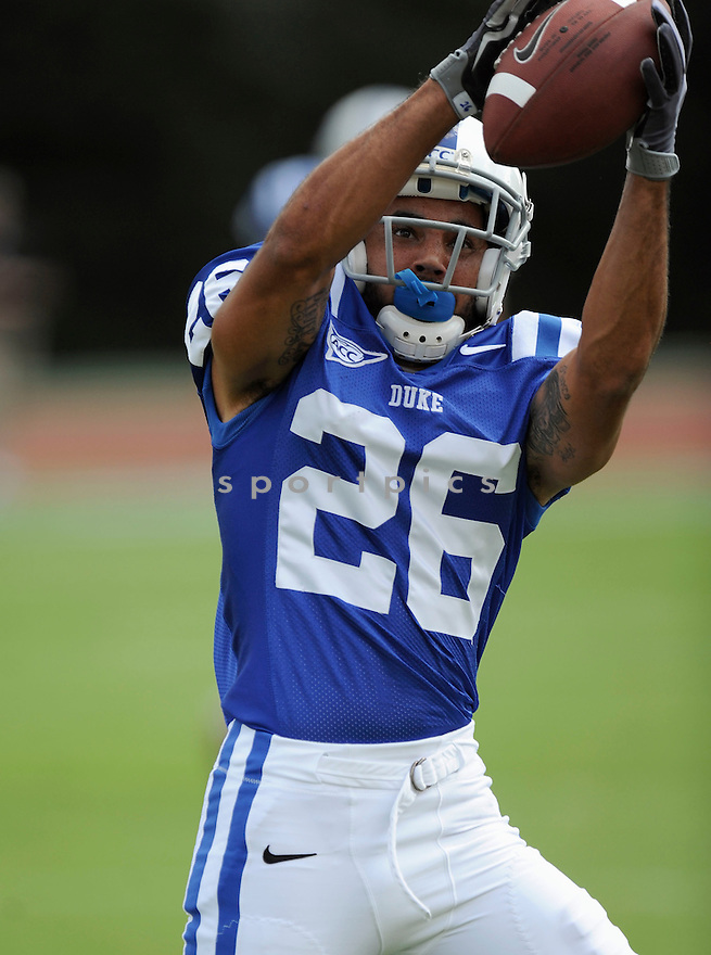 DONOVAN VARNER, of the Duke Blue Devils, in action during the Duke Blue Devils game against the Army Black Knights at Wallace Wade Stadium on September 25, 2010  in Durham, NC..Army Black Knights 35 Duke University 21.