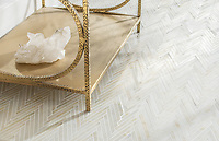 Twill, a hand-cut stone mosaic, shown in polished Cloud Nine, is part of The Studio Line of Ready to Ship mosaics.