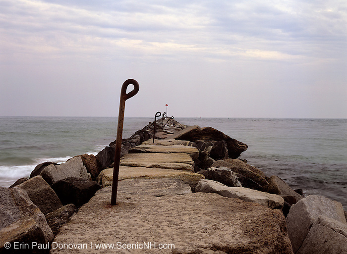 Jetty at Hampton Beach State Park in Hampton, New Hampshire USA.