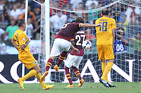 ROME, Italy - September 1, 2013: Roma beats Verona 3-0 during the Serie A match in Olimpico Stadium. In the photo the goal of 3-0 scored by Adem Ljajic