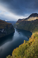 Scenic Geirangerfjord in autumn, Geiranger, Møre of Romsdals, Norway