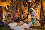 Santuari Nostra Senyora de Cura, XIV..Our Lady of Cures Monastery small nativity diorama with cave grotto setting.