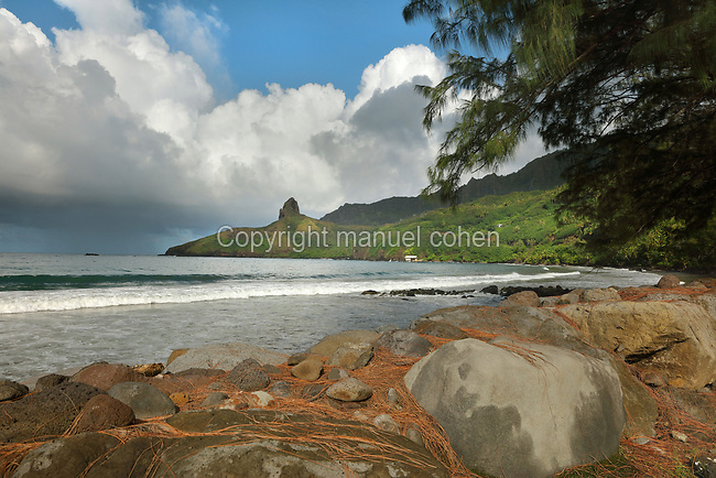 Puamau beach, on the island of Hiva Oa, in the Marquesas Islands, French Polynesia. Picture by Manuel Cohen