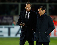Calcio, Coppa Italia: semifinale di ritorno Fiorentina vs Juventus. Firenze, stadio Artemio Franchi, 7 aprile 2015. <br /> Juventus coach Massimiliano Allegri, left, talks to Fiorentina coach Vincenzo Montella prior to the start of the Italian Cup semifinal second leg football match between Fiorentina and Juventus at Florence's Artemio Franchi stadium, 7 April 2015.<br /> UPDATE IMAGES PRESS/Isabella Bonotto