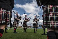 Scotland Highland games Bute Island Concorso di cornamuse Bagpipes
