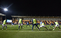 Wycombe players warm up ahead of the Sky Bet League 2 match between Colchester United and Wycombe Wanderers at the Weston Homes Community Stadium, Colchester, England on 21 February 2017. Photo by Andy Rowland / PRiME Media Images.