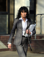Pictured: Maria Seague leaving Swansea Crown Court. Thursday 27 March 2014<br /> Re: The trial of a mine manager over the deaths of four miners at a Swansea Valley pit has started.<br /> Malcolm Fyfield, 58, was manager of the Gleision drift mine near Cilybebyll when it flooded in September 2011.<br /> David Powell, 50, Charles Breslin, 62, Phillip Hill, 44, and Garry Jenkins, 39, died in the incident.<br /> Mr Fyfield denies manslaughter while MNS Mining, the company which operated the site, denies corporate manslaughter.<br /> The prosecution opened its case at Swansea Crown Court on Thursday.<br /> The defence told the trial that it was agreed that Mr Fyfield suffered from post traumatic stress disorder and that would affect how he was able to deal with evidence. He will require breaks and may need to leave the court on occasions.