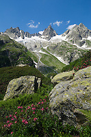 Switzerland, Canton Uri, at Sustenpass Road - border between cantone Bern + Uri - Fuenffingerstock mountains with peaks Sustenhochspitz, Wendenhorn und Wasenhorn (f.l.t.r.)