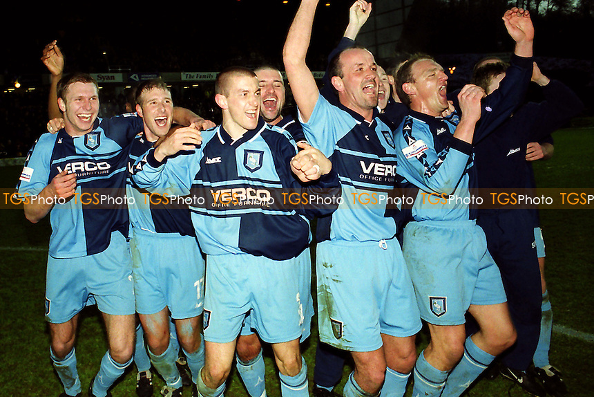 History in the making as Jamie Bates and Andy Rammell lead the Wycombe celebrations after beating Wolves 2-1 in their first ever appearance in the FA Cup 4th Round during Wycombe Wanderers vs Wolverhampton Wanderers, FA Cup Football at Adams Park on 27th January 2001