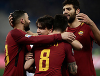 Calcio, Serie A: AS Roma - Benevento, Roma, stadio Olimpico, 11 gennaio 2018.<br /> Roma's Cengiz Under celebrates with his teammates after scoring during the Italian Serie A football match between AS Roma and Benevento at Rome's Olympic stadium, February 11, 2018.<br /> UPDATE IMAGES PRESS/Isabella Bonotto