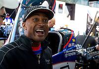 Jun. 1, 2014; Englishtown, NJ, USA; NHRA top fuel driver Antron Brown reacts during the Summernationals at Raceway Park. Mandatory Credit: Mark J. Rebilas-