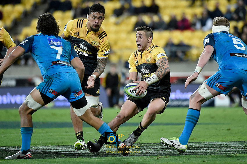 Hurricanes' TJ Perenara in action during the Super Rugby - Hurricanes v Blues at Westpac Stadium, Wellington, New Zealand on Saturday 2 July 2016. <br /> Photo by Masanori Udagawa. <br /> www.photowellington.photoshelter.com.
